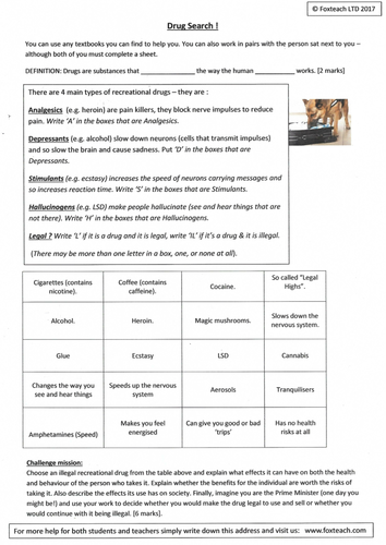 Drugs, types, recreational, medicinal, legal, illegal  Differentiated  activity sheets with answers