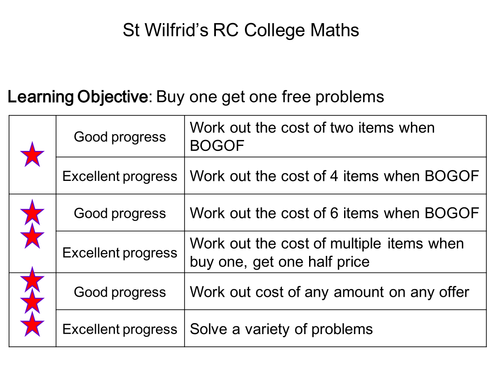 WHOLE LESSON BUY ONE GET FREE CALCULATIONS
