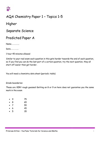 Sample Exam Papers. C1 (topics 1-5) AQA Chemistry (combined and separate) 9-1 spec. Higher inc Ans