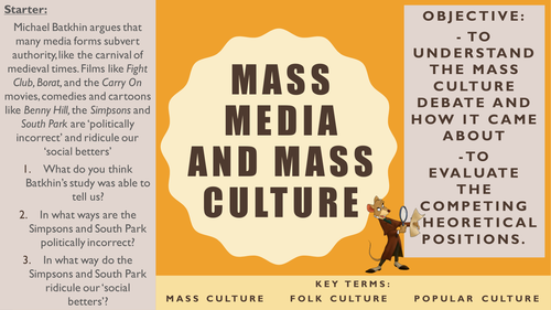AQA A2 Sociology- Mass Media: Media and Mass Culture