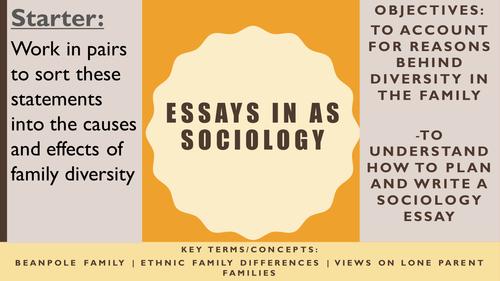 AQA AS Sociology- Families & Households: Family Diversity Essay Exemplar