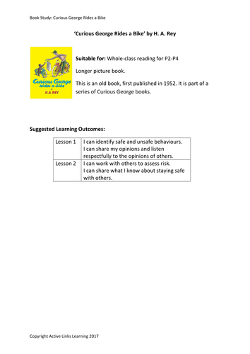 Curious George Rides A Bike – risk and safety lessons to follow whole class reading