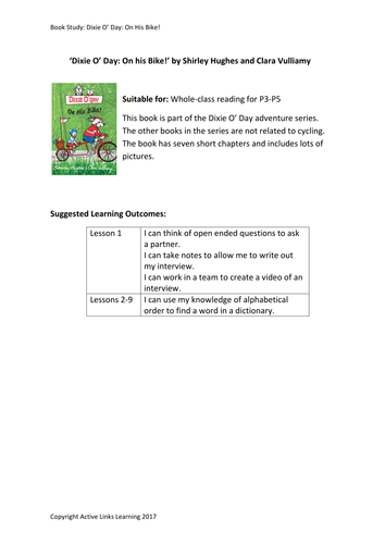 Dixie O' Day: On His Bike! – lessons to follow whole class reading