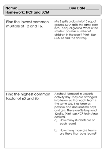 Homework Sheet - HCF and LCM - Fluency and Application Questions