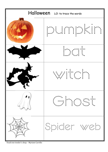 Tracing activity for Halloween.