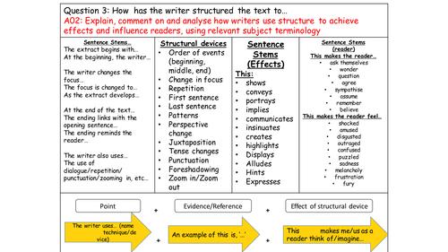 AQA English Language Paper 1 A Q3 Structure display