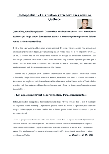 A-Level French - L'homophobie - Articles France/Quebec