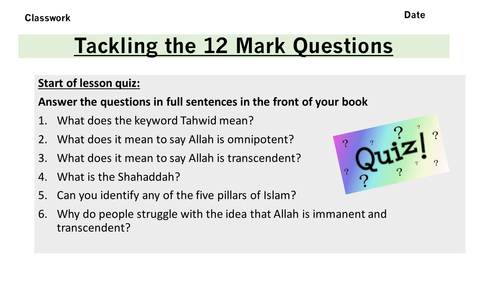 AQA 9-1 Religious studies. 12 marker technique . Complete with teaching tools