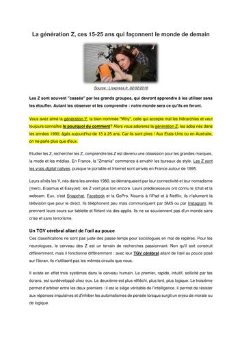 La génération Z - Article de l'Express.fr