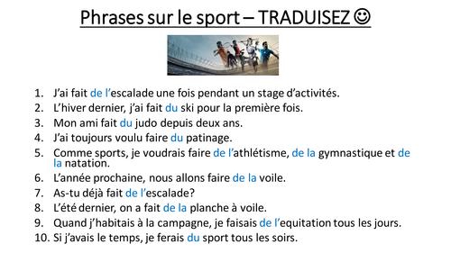 Le sport - traductions de phrases