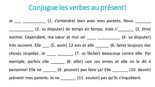 Conjuge les verbes au présent