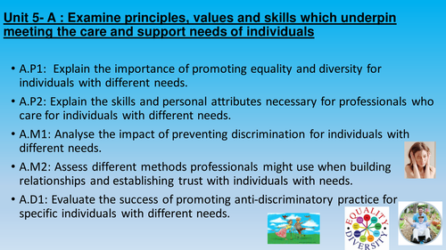 Principles, values and skills which underpin meeting the care and support needs unit 5 [new Spec]