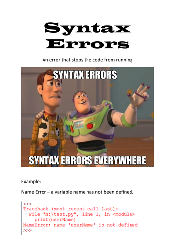 Syntax Errors Display Poster