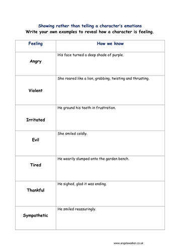 Improve Creative Writing Differentiated Show Dont Tell Worksheets