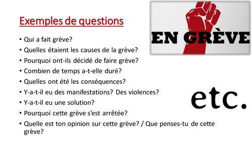 Grèves en France - Oral presentation project