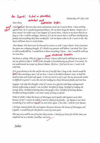 Diary for Juliet  - a sample answer