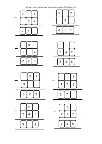 Year 4/5/6 Missing subtraction digit problems (column