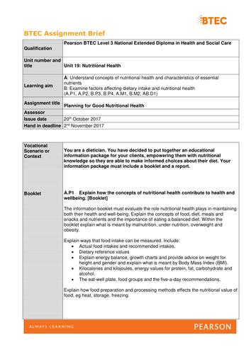 Unit 19. Nutritional Health [New Spec] Assignment briefs