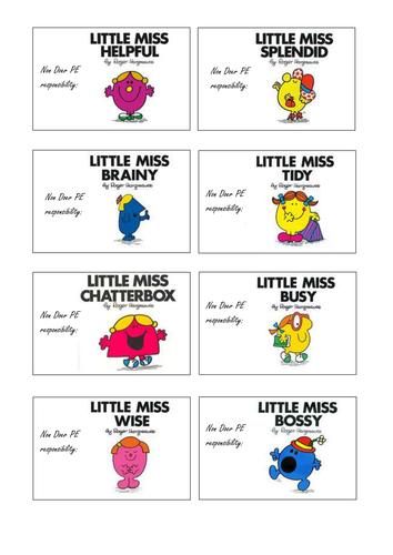 PE Non Doer Little Miss Badges
