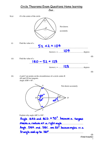 Circle theorems (minimum 3 lessons)