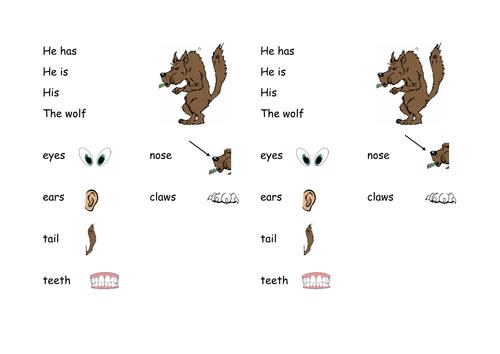 Big bad wolf keyword mat KS1 differentiated