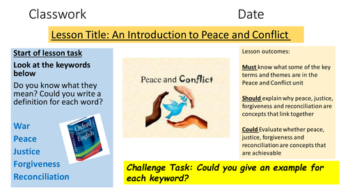 AQA Religious Studies 9-1 an Introduction lesson for the Peace and Conflict Theme