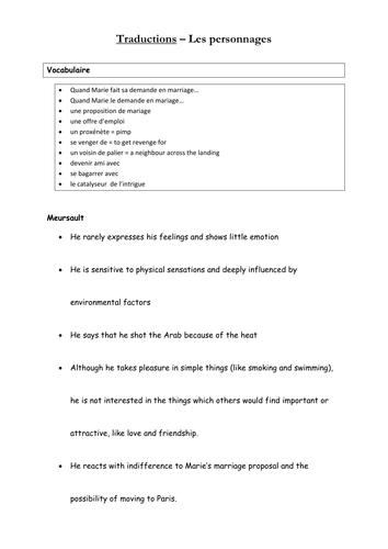 Camus Letranger Worksheets By Sb23 Teaching Resources Tes