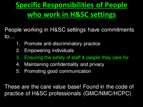 Ensuring Safety in H&SC Settings (Unit 2 Health and Social Care)