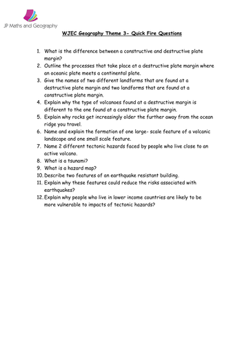 Theme 3 Tectonic Landscapes and Hazards. WJEC Quick Fire Questions.
