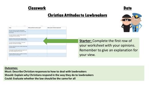 AQA Religious Studies 9-1  Themes: Crime and Punishment. Christian attitudes to lawbreakers