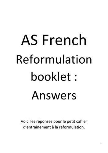 Secondary french resources advanced level literature and film answers for the reformulation booklet fandeluxe