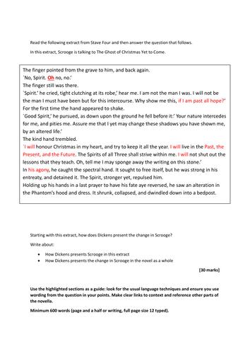 A Christmas Carol Example Response with Mock Exam Paper AQA NEW 1-9 SPEC