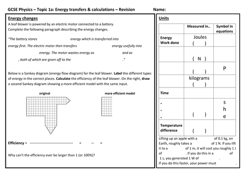 Mr van os science resources teaching resources tes aqa 9 1 gcse physics energy 3 revision sheets ccuart Image collections