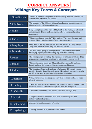 Vikings key words and concepts