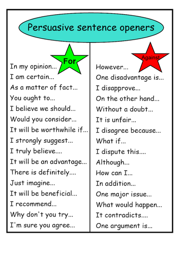 English KS2 Persuasive sentence openers - For and Against