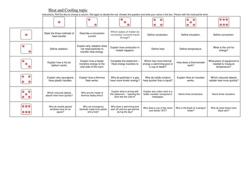 KS3 revision game - Heating and Cooling topic