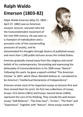 ralph waldo emerson handout by sfy teaching resources tes