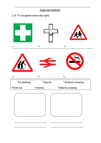 Ks1 To Recognise Signs And Symbols Worksheet By 06cwebs