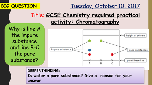 AQA new specification-Chromatography required practical-C10.2