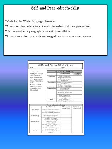 Self & Peer Edit Checklist | World Languages