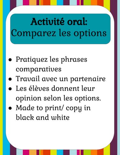 Les phrases comparatives | Activité oral