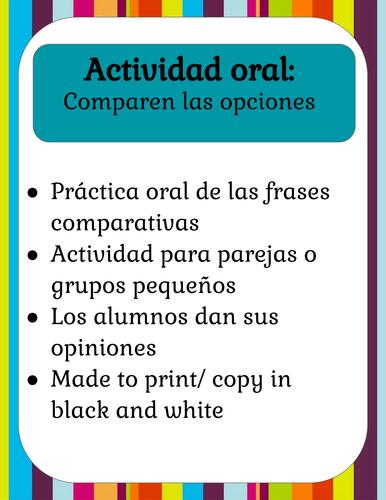 Las frases comparativas | Actividad Oral