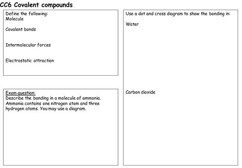 Covalent compounds revision sheet