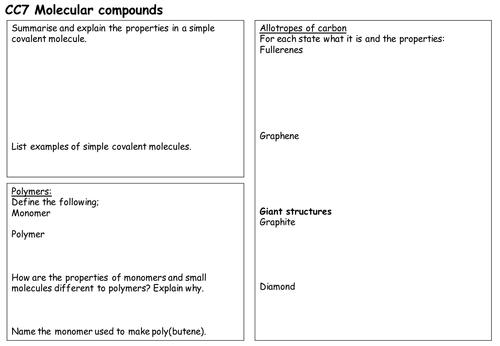 Molecular compounds revision sheet