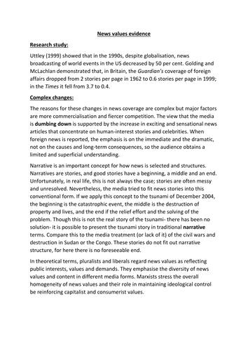 AQA A2 Sociology- Mass Media: Influences on news content