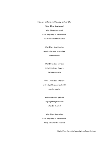 Poetry,  What I love about school
