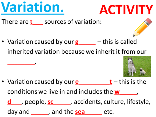 Effects of the environment, environmental variation, inherited variation. KS3. Complete Lesson.