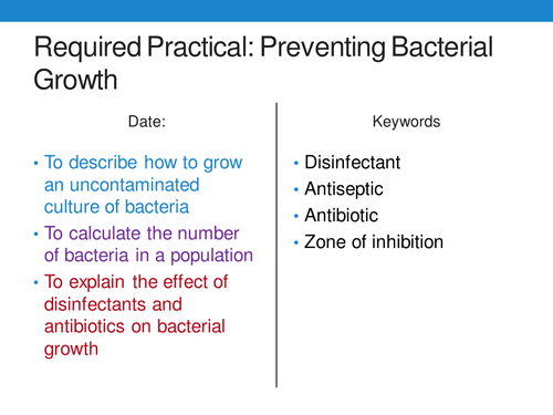 New 9-1 GCSE Biology B5 Preventing Bacterial Growth