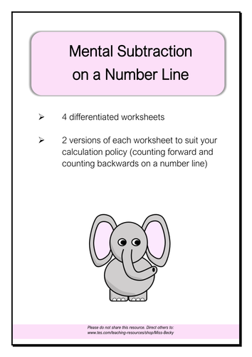 Differentiated Number Line Subtraction Worksheets (LKS2)
