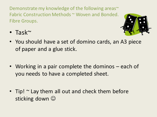 Dominoes Activity for Fabric Construction -woven + bonded and fibre groups